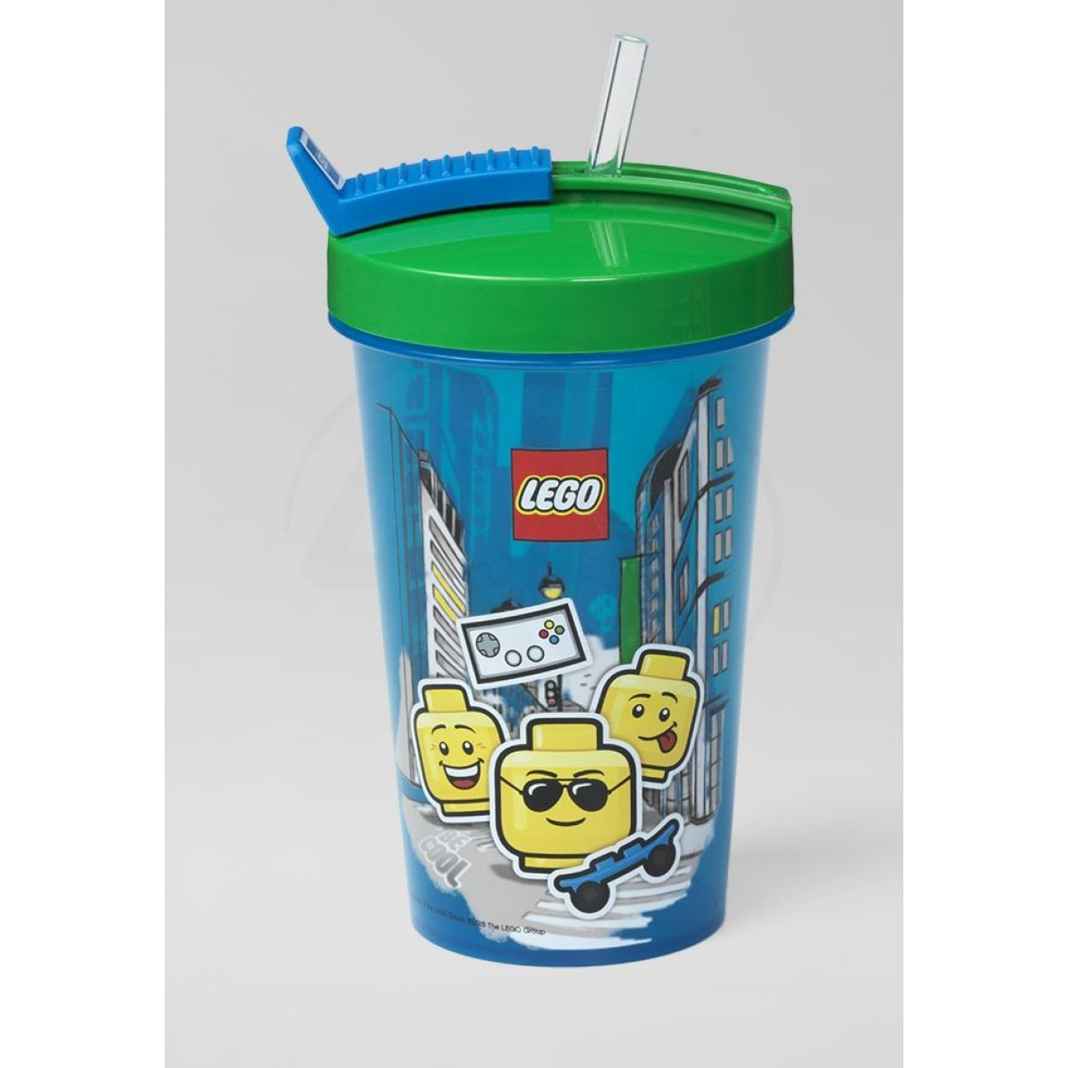 LEGO Iconic Boy láhev s brčkem modrozelená