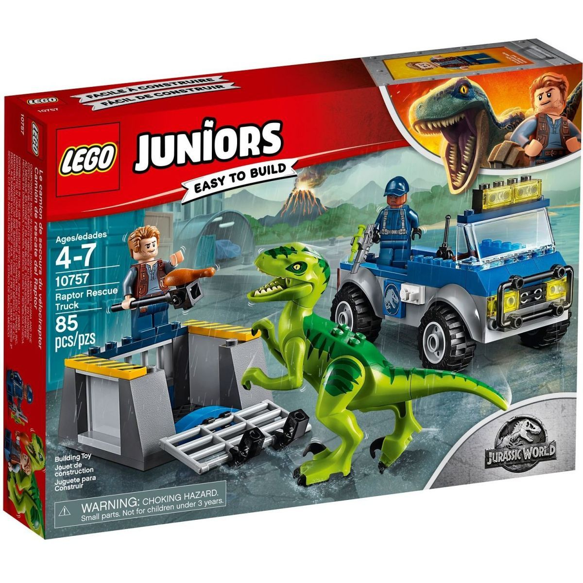 LEGO Juniors 10757 Jurassic World Vozidlo pro záchranu Raptora