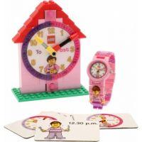 LEGO Time Teacher Výuková stavebnice hodin a hodinky růžové