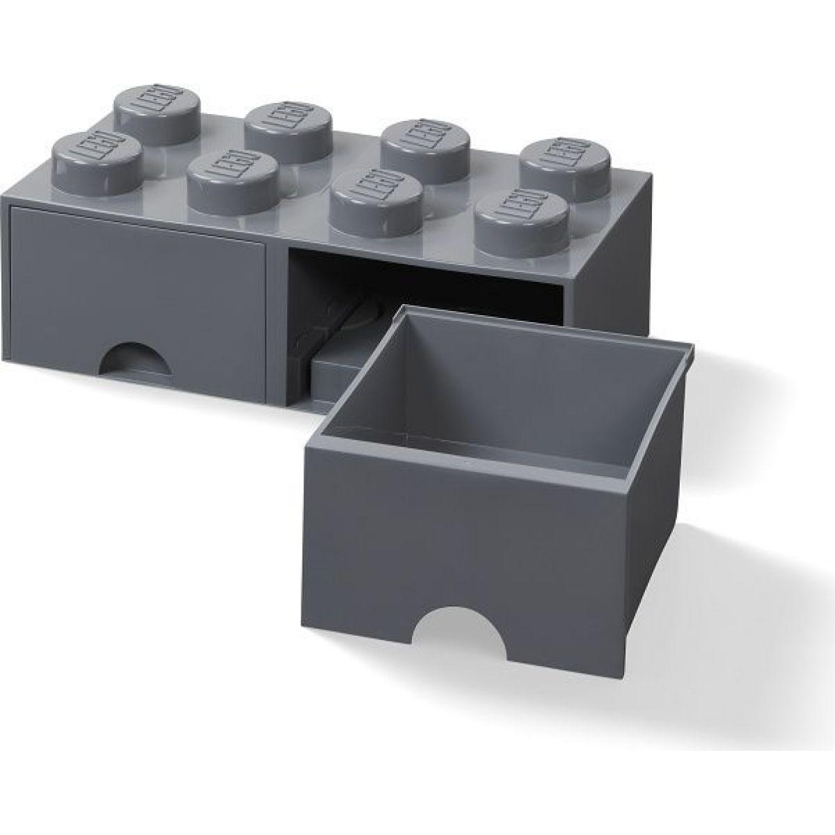 LEGO Úložný box 8 s šuplíky - tmavě šedá