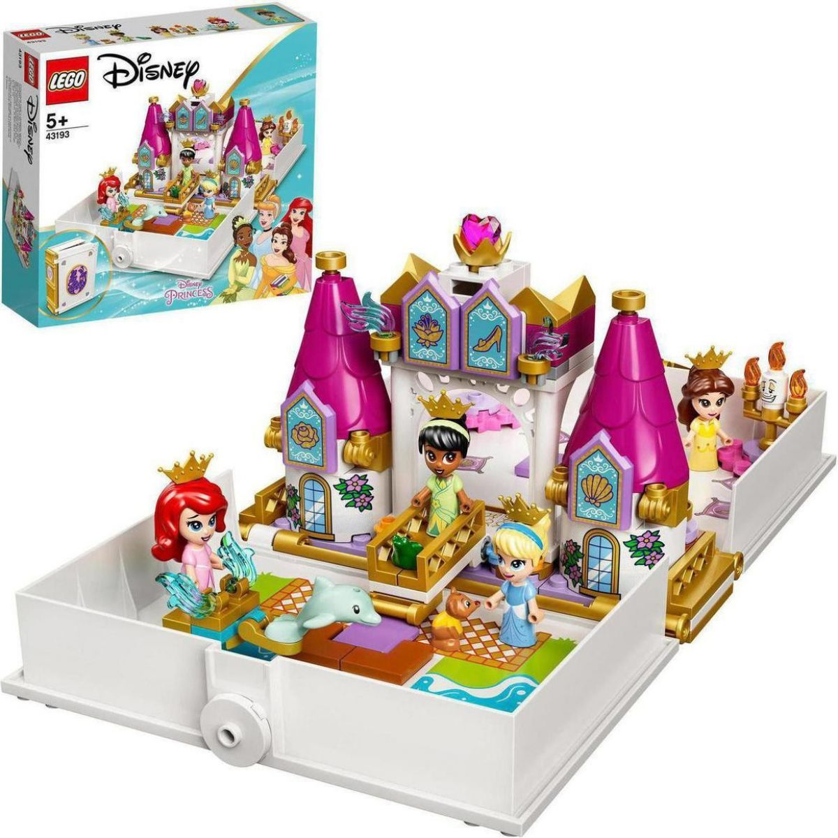 LEGO® I Disney Princess™ 43193 Ariel, Kráska, Popelka a Tiana a jejich pohádková kniha dobrodružství