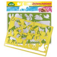 LENA 65767 - Kreslící šablony - koně, kočky