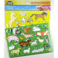 LENA 65767 - Kreslící šablony - koně, kočky 2