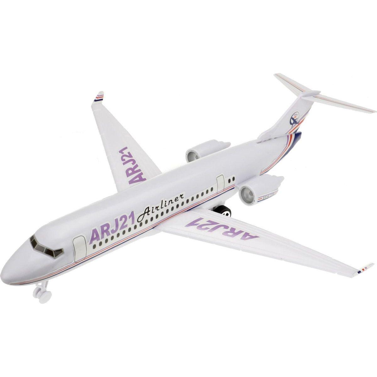 Letadlo plastové 43 cm na setrvačník a na baterie se zvukem a světlem