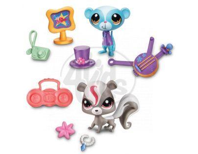 Littlest Pet Shop 4 zvířátka s doplňky v přenosném balení - Showtime Friends