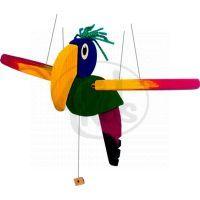 Létací papoušek 30 cm dřevěný