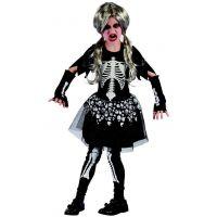 Made Dětský karnevalový kostým Kostra dívka 120 - 130 cm