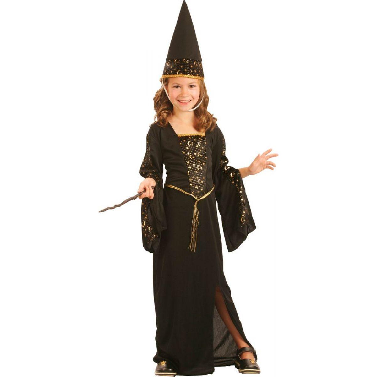 Made Dětský kostým Čarodějka černo-zlatá 110-120cm MaDe