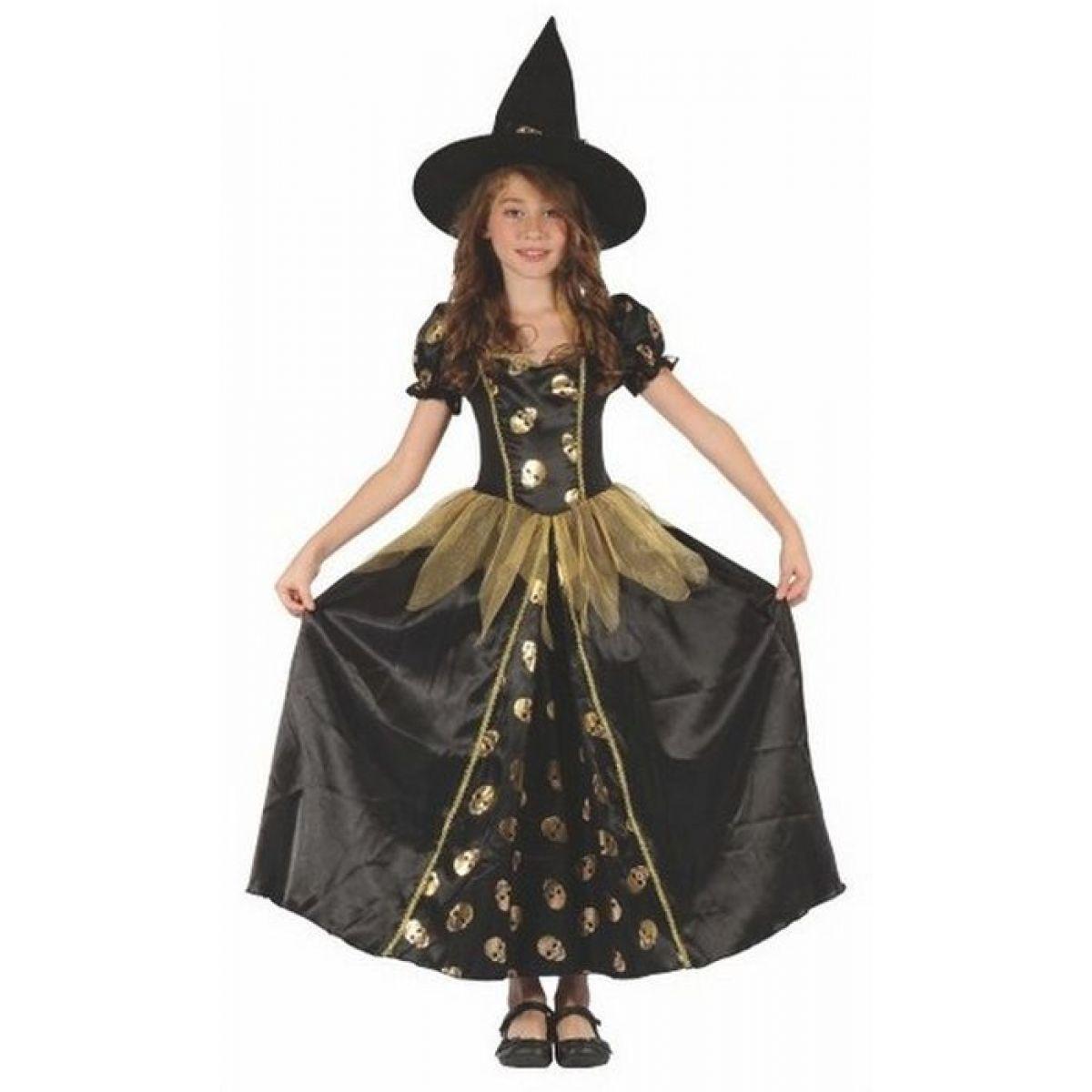 Made Dětský kostým Čarodějka lebka 120-130 cm MaDe