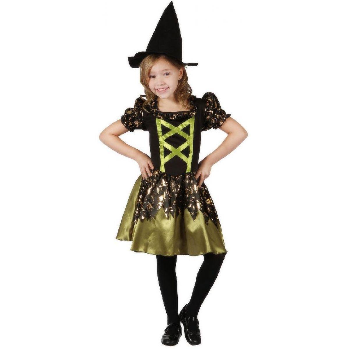 Made Dětský kostým Čarodějka zelená 120-130 cm MaDe