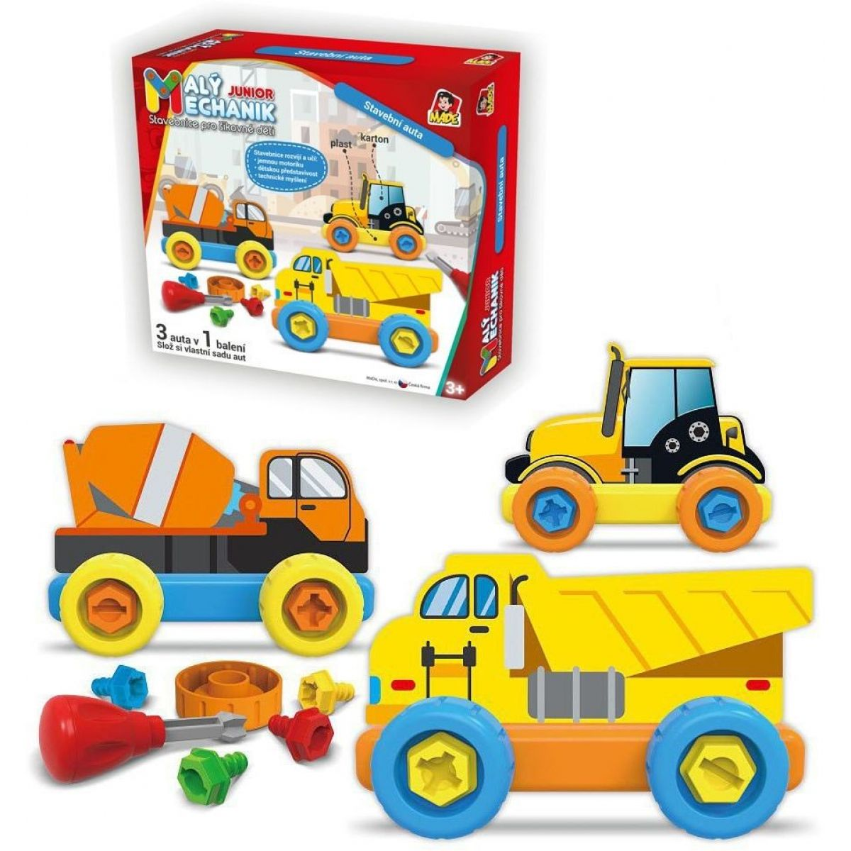 Malý mechanik plastový Junior stavební auta