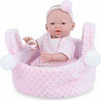 Marina & Pau 202-AK Panenka koupací miminko New Born holčička v košíčku 21 cm
