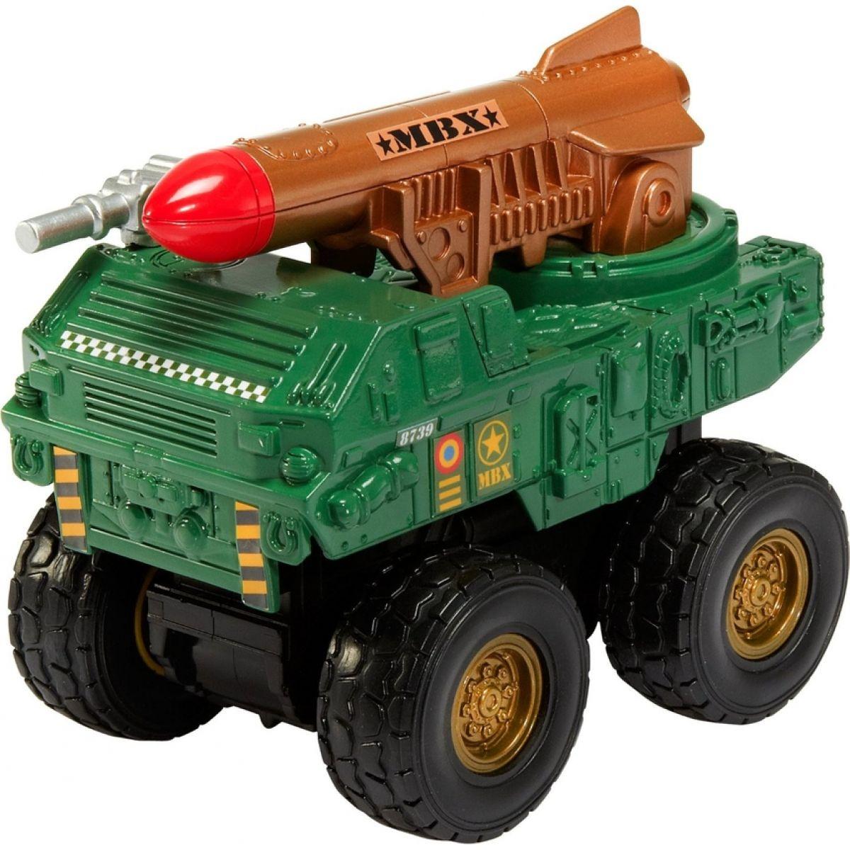 Matchbox MBX Auta na setrvačník ASS - Vojenské s raketou zelené