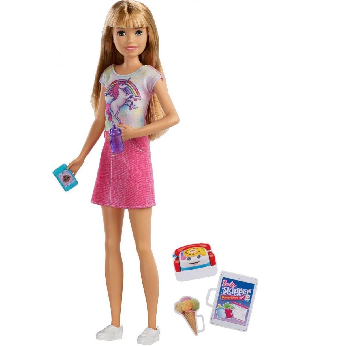 Mattel Barbie Chůva blondýnka v růžových šatech s jednorožcem
