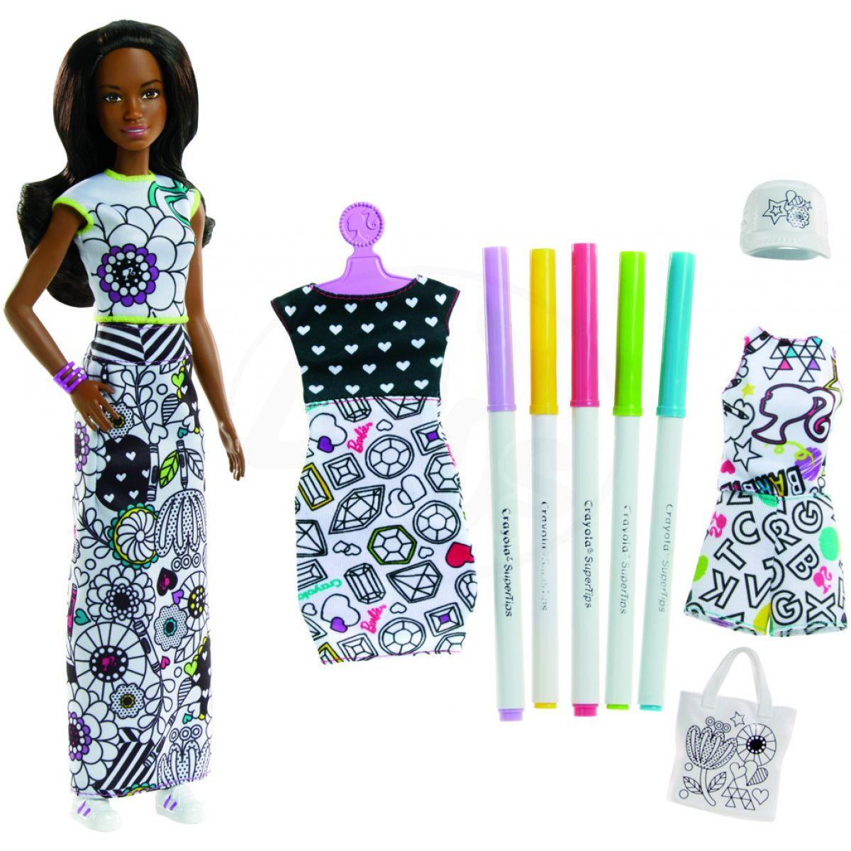 Mattel Barbie D.I.Y.crayola vybarvování šatů černoška da5f3d1007