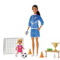 Mattel Barbie fotbalová trenérka s panenkou herní set hnědovlasá trenérka