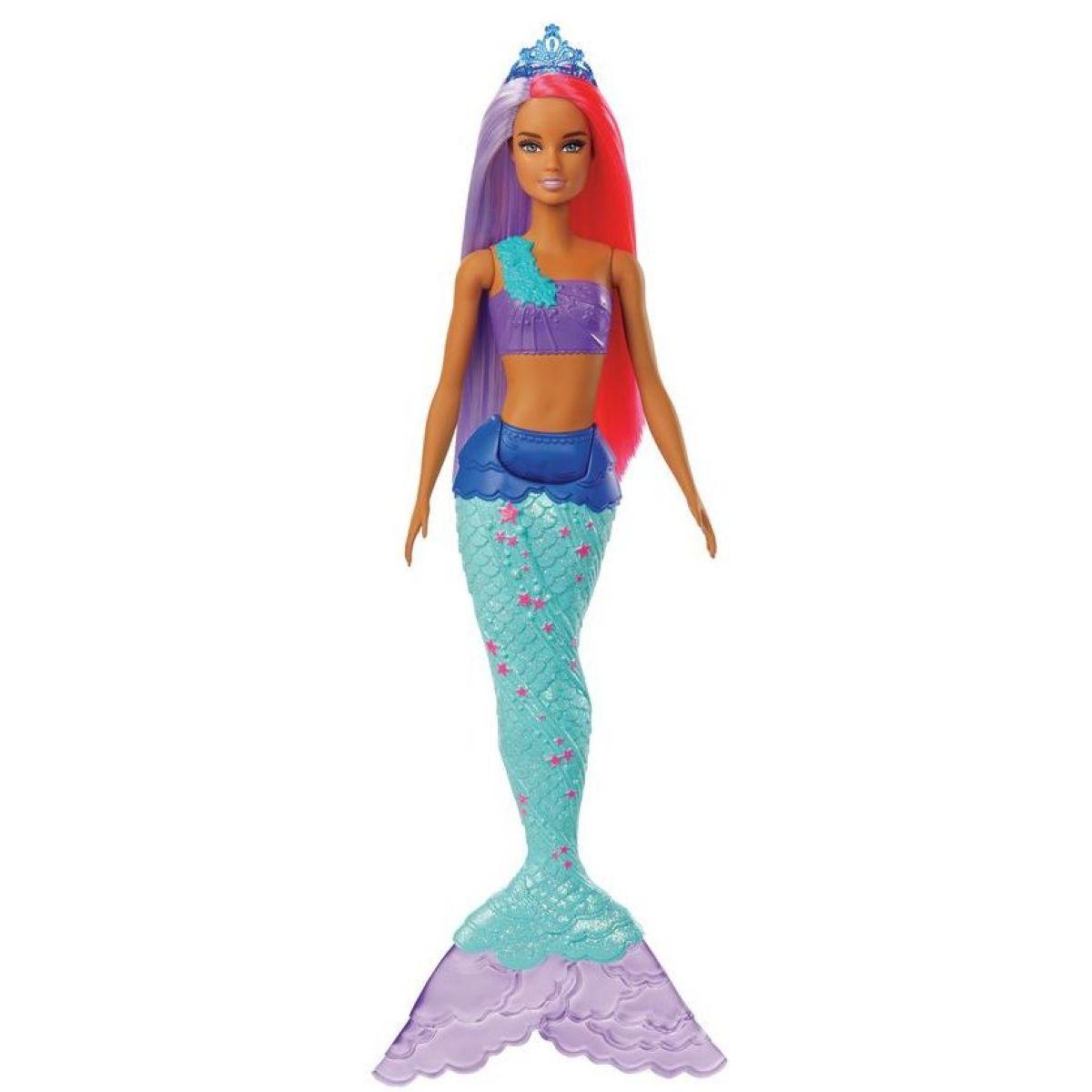 Mattel Barbie kouzelná mořská víla vlasy fialově-červené