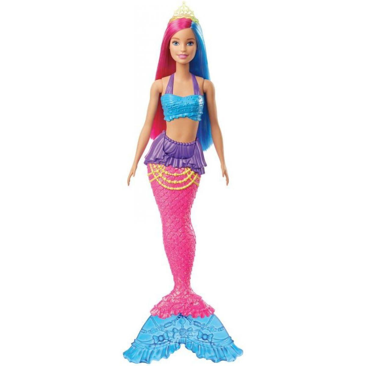 Mattel Barbie kouzelná mořská víla vlasy růžově-modré