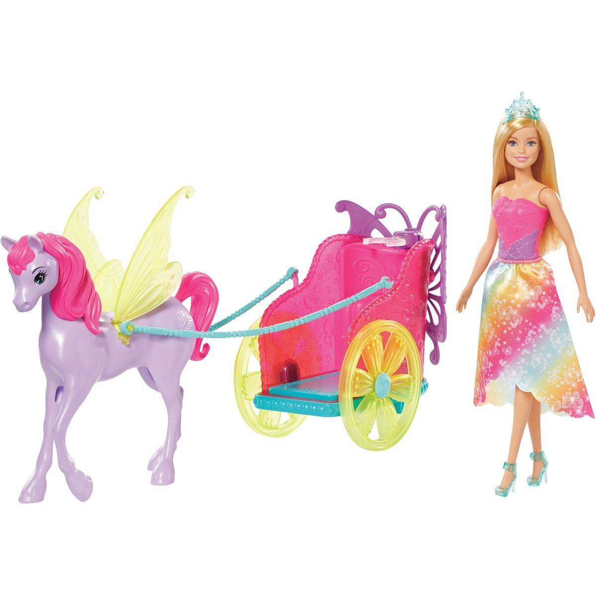 Mattel Barbie princezna v kočáru a pohádkový kůň