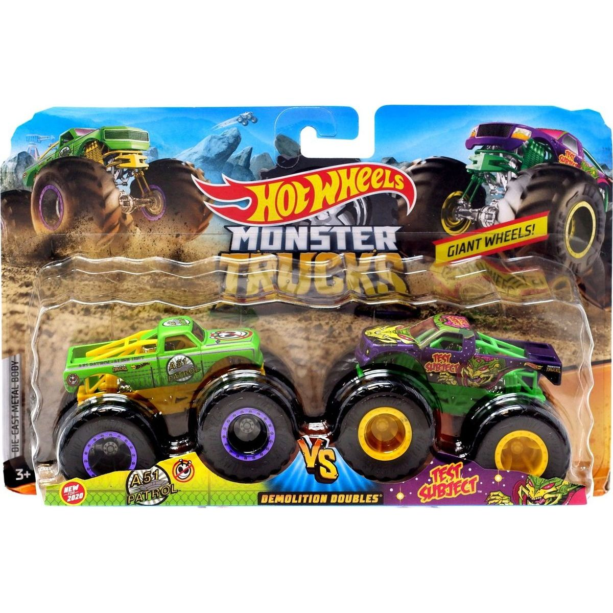Mattel Hot Wheels Monster trucks demoliční duo A51 Pathol a Test Subject