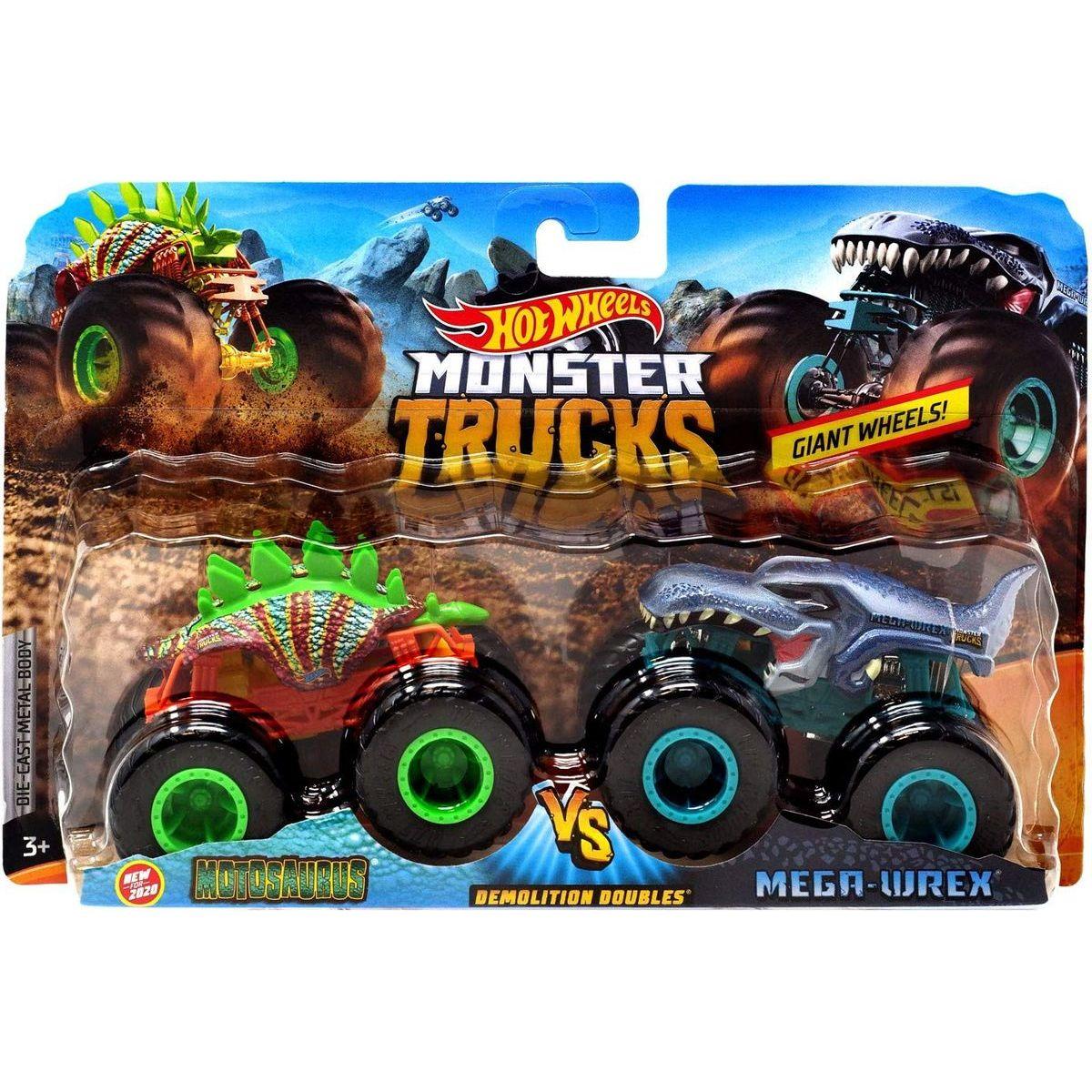 Mattel Hot Wheels Monster trucks demoliční duo Motosaurus VS Mega Wrex