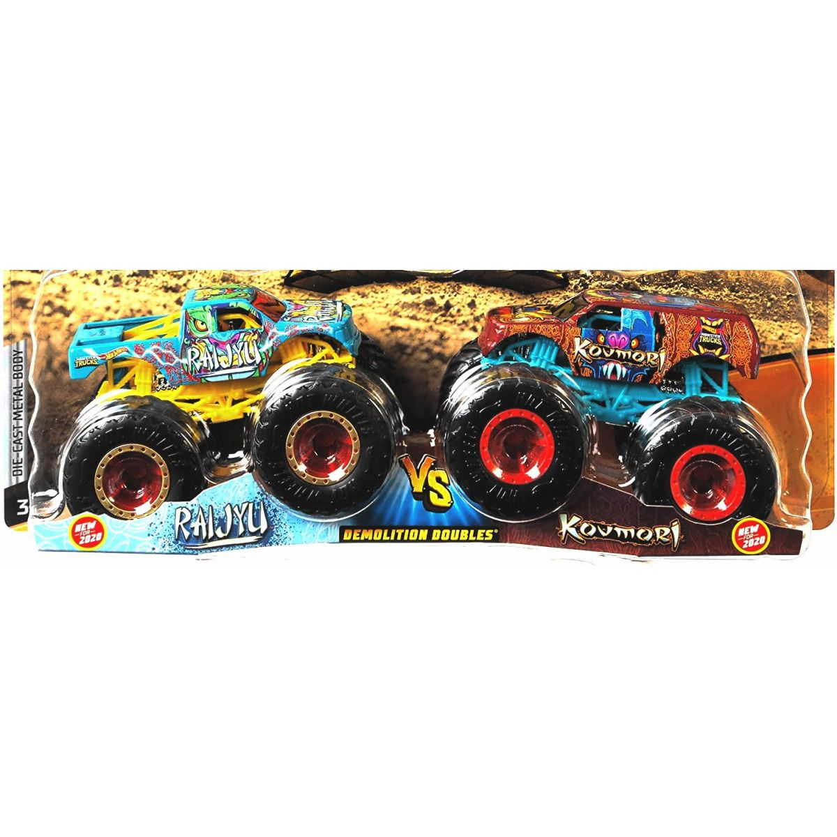 Mattel Hot Wheels Monster trucks demoliční duo Raijyu a Kovmori
