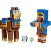 Mattel Minecraft 8 cm figurka dvojbalení Llama a Wandering Trader 2