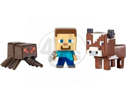 Mattel Minecraft minifigurka 3ks - Cow, Steve a Spider