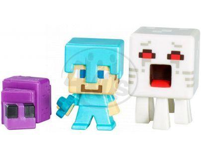 Mattel Minecraft minifigurka 3ks - Ghast, Steve with Diamond Armor and Endermite