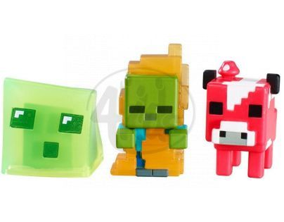 Mattel Minecraft minifigurka 3ks - Mooshroom, Zombie in Flames and Slime Cube