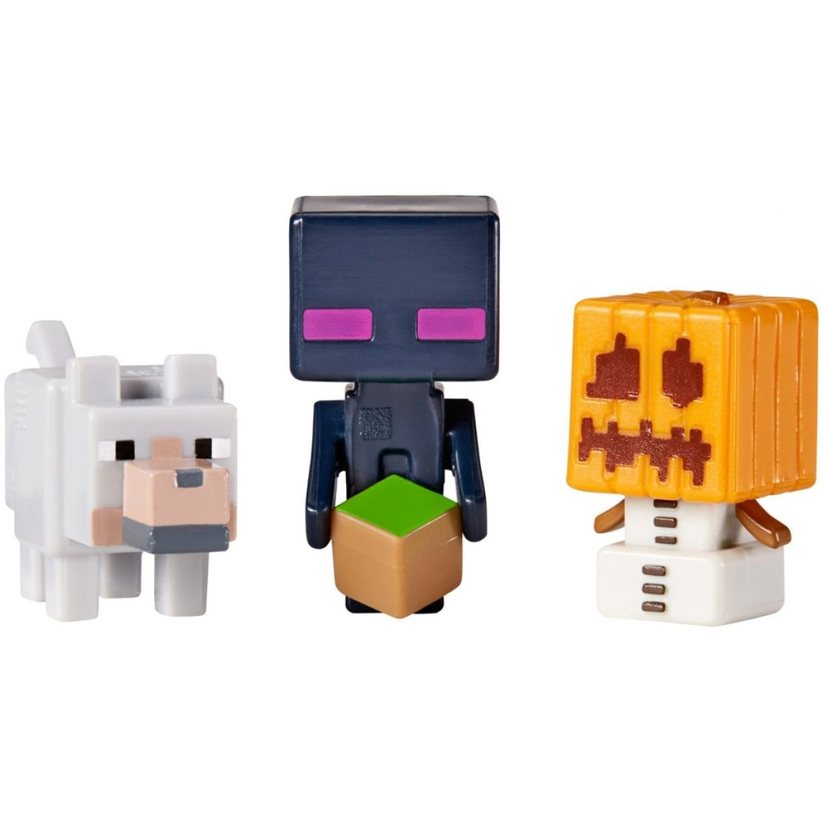 Mattel Minecraft minifigurka 3ks - Snow Golem, Enderman a Wolf