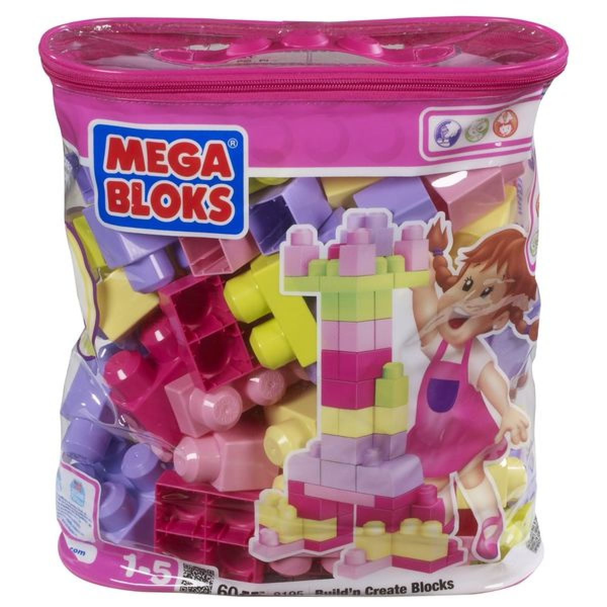 MEGABLOKS Mega 08195 - Kostky v plastovém pytli-růžová barva, 60dílů