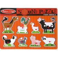 Melissa & Doug Dřevěné puzzle se zvuky zvířata na farmě