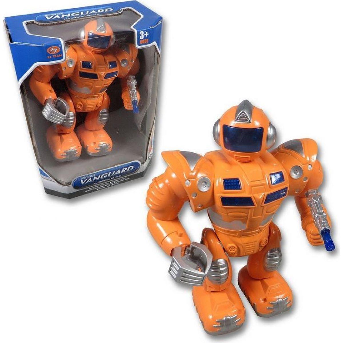 Mikro Robot 29 cm chodící se zvukem a světlem - Oranžová