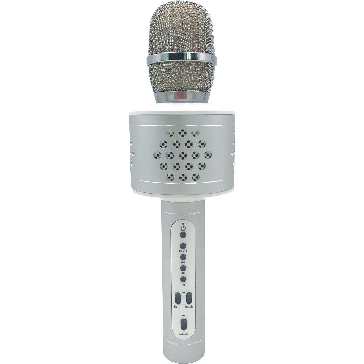 Mikrofon karaoke Bluetooth stříbrný