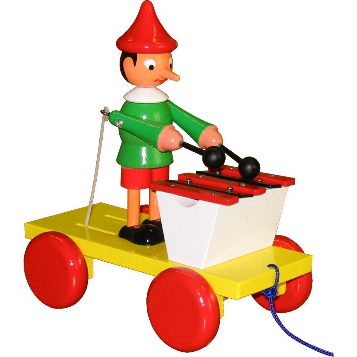 Miva Pinochio s xylofonem tahací dřevo 20 cm