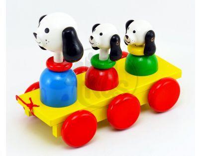 Miva Tři psi Dřevěná tahací hračka