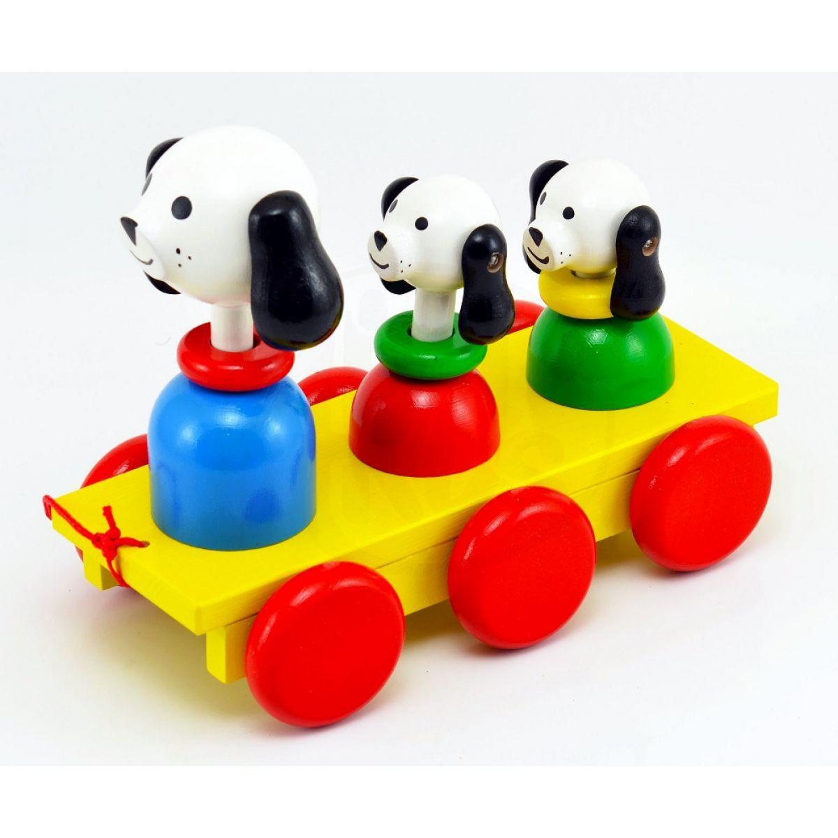 5fbe377e5 Miva Tři psi Dřevěná tahací hračka | 4kids