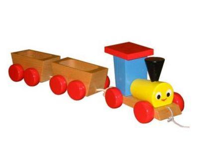 Miva Tahací dřevěný vlak se dvěma vagónky