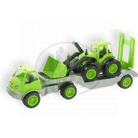 Mochtoys Nákladní auto s přívěsem a bagrem - Zelená
