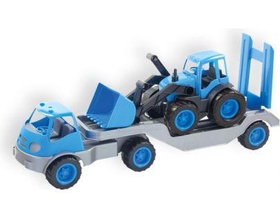 Mochtoys Nákladní auto s přívěsem a bagrem - Modrá