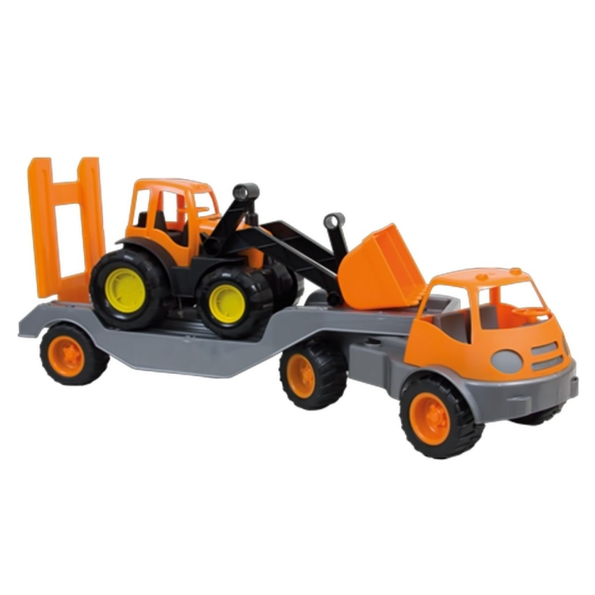 Mochtoys Nákladní auto s přívěsem a bagrem - Oranžová