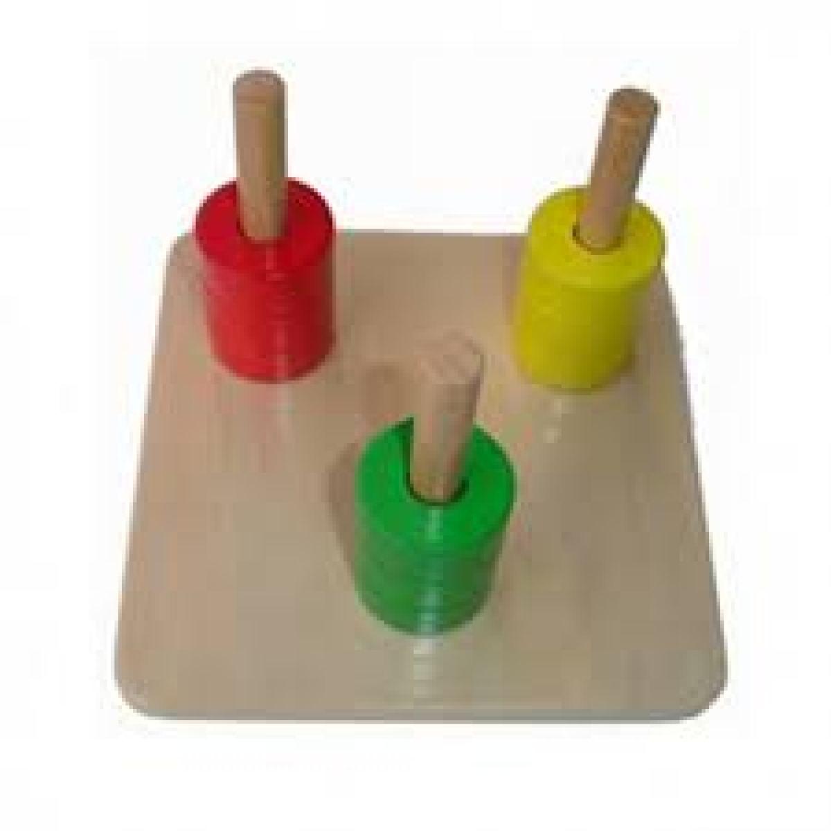 Montessori Barevné kroužky na 3 na stojáncích