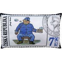 MÚ Brno Polštář Švejk známka 43 x 25 cm