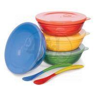 Munchkin Set barevných misek s víčky a lžičkami