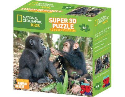 Prime 3D National Geographic Kids Puzzle Opice 63 dílků