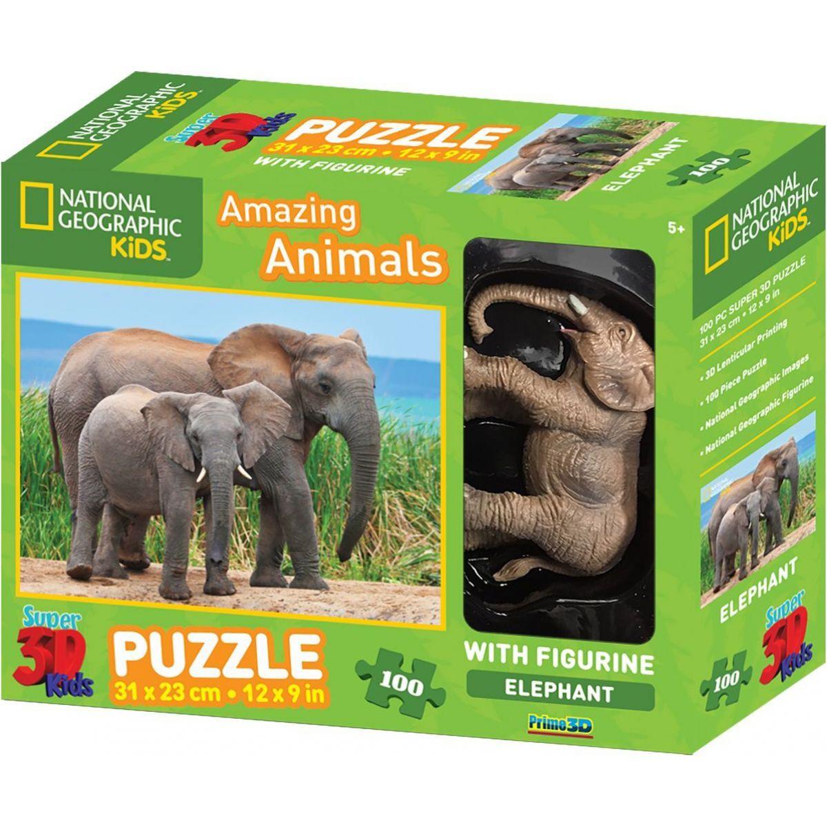 National Geographic Kids 3D Puzzle Slon 100 dílků figurka