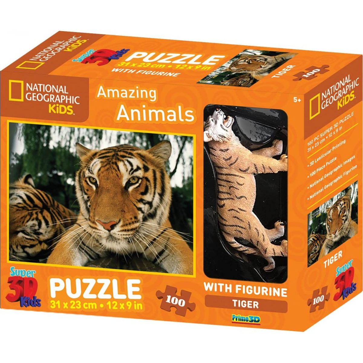National Geographic Kids 3D Puzzle Tygr 100 dílků figurka