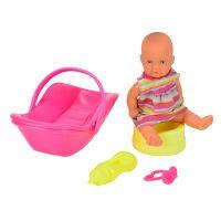 New Born Baby Mini New Born panenka 12 cm s příslušenstvím proužek a žlutý nočník