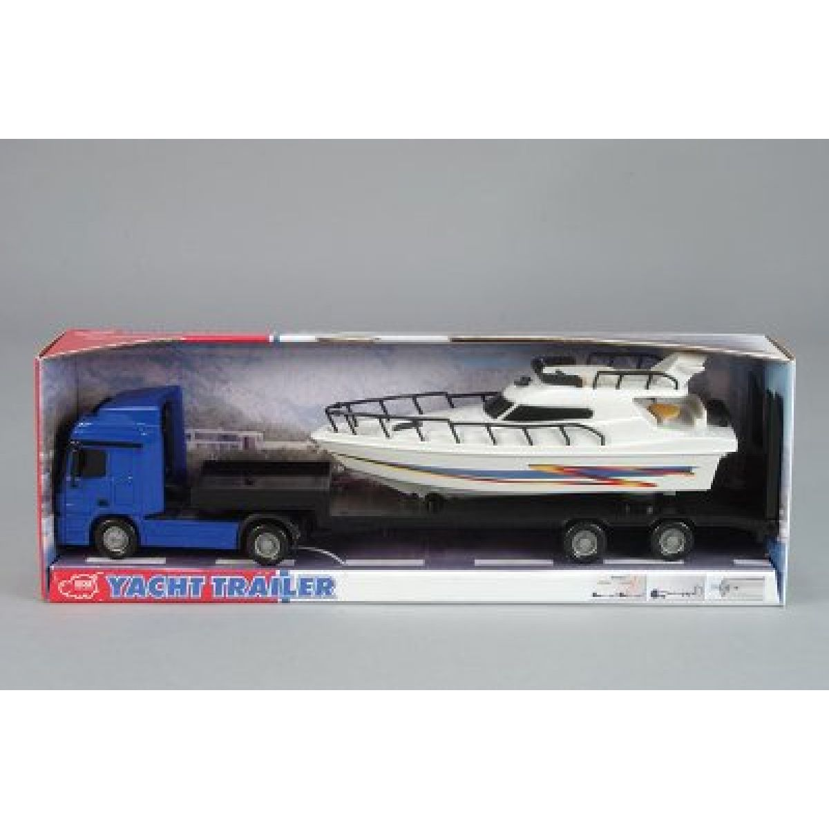 Nákladní auto na setrvačník s jachtou